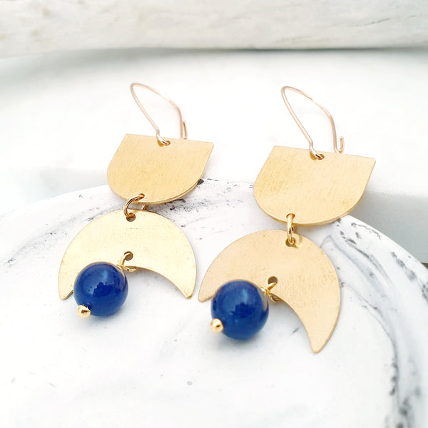 Helios Brass Collection - Blue Dumortierite Gold Arch Crescent Earrings