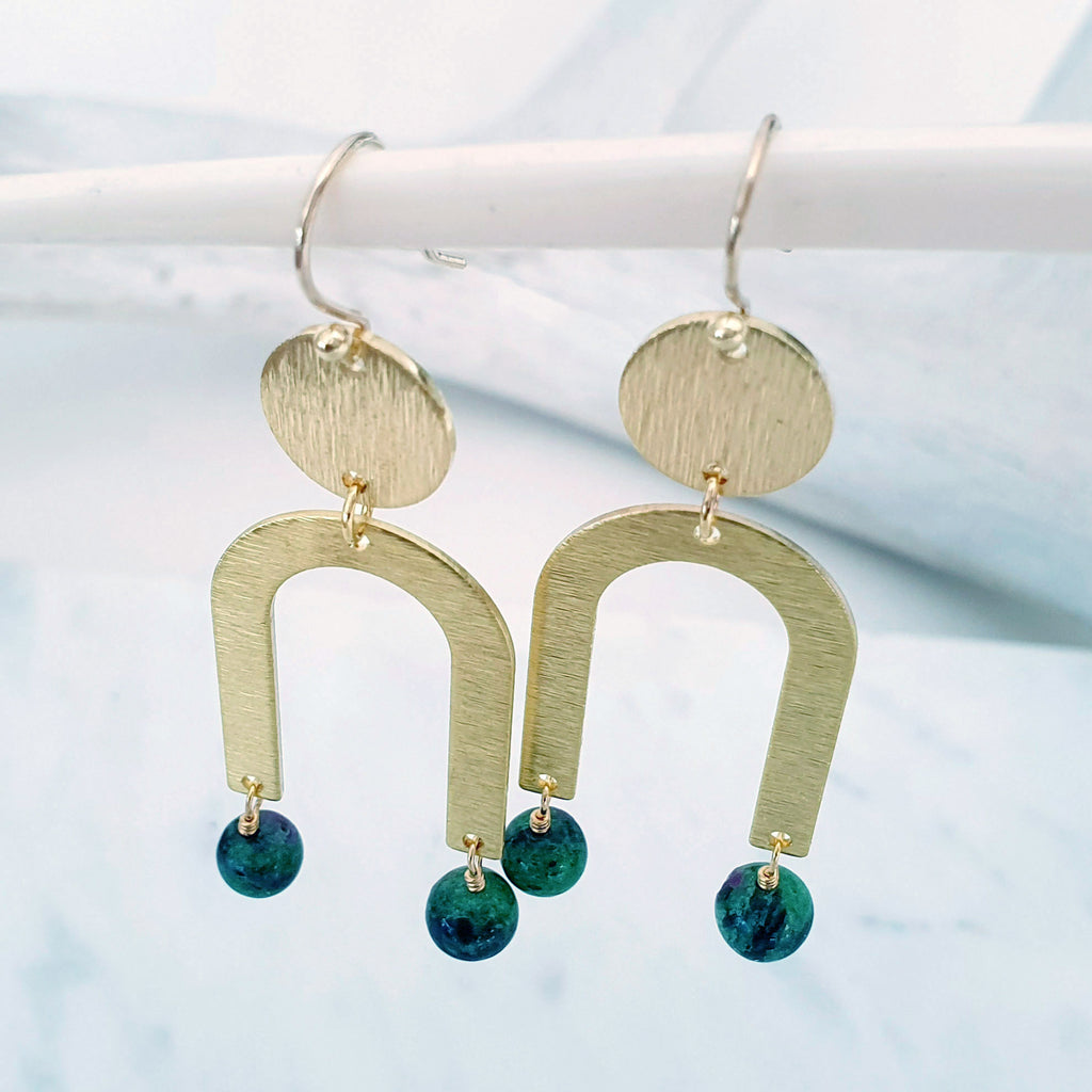 Helios Brass Collection - Ruby Zoisite Gold Arch Disc Earrings