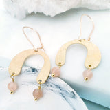 Helios Brass Collection - Sunstone Rounded Gold Arch Earrings