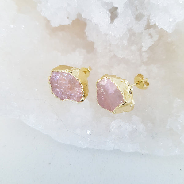 Adore Gemstone Earrings Collection - Raw Rose Quartz Ear Studs