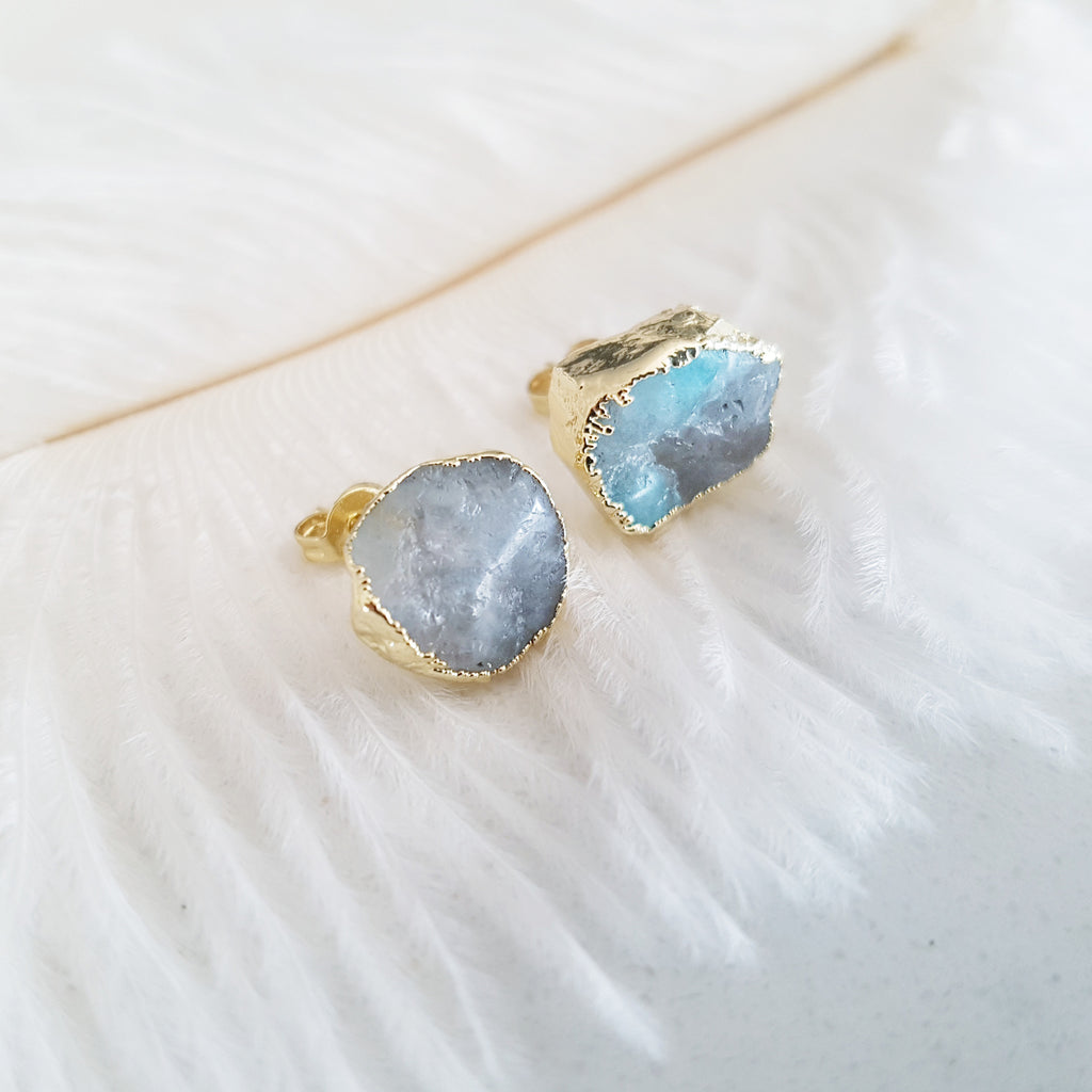 Adore Gemstone Earrings Collection - Blue Celestine Ear Studs