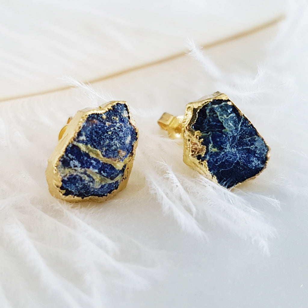 Adore Gemstone Earrings Collection - RAW - Lapis Lazuli Ear Studs
