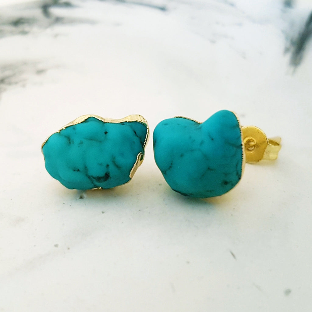 Adore Gemstone Earrings Collection - Blue Turquoise Ear Studs