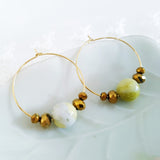 Adore Gemstone Earrings Collection - Olive Green Jade Loop Earrings