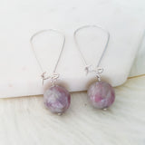 Adore Gemstone Earrings Collection - Purple Lepidolite Earrings