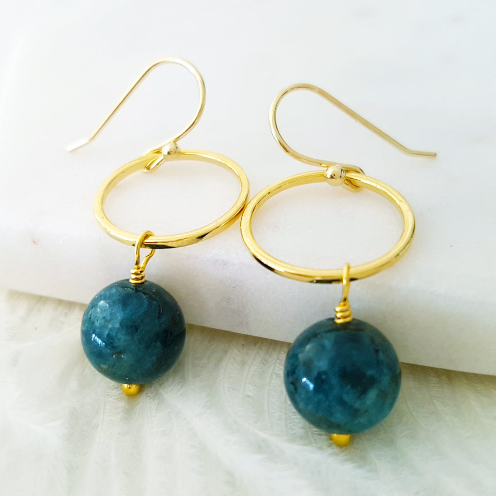 Adore Gemstone Earrings Collection - Apatite Ring Earrings