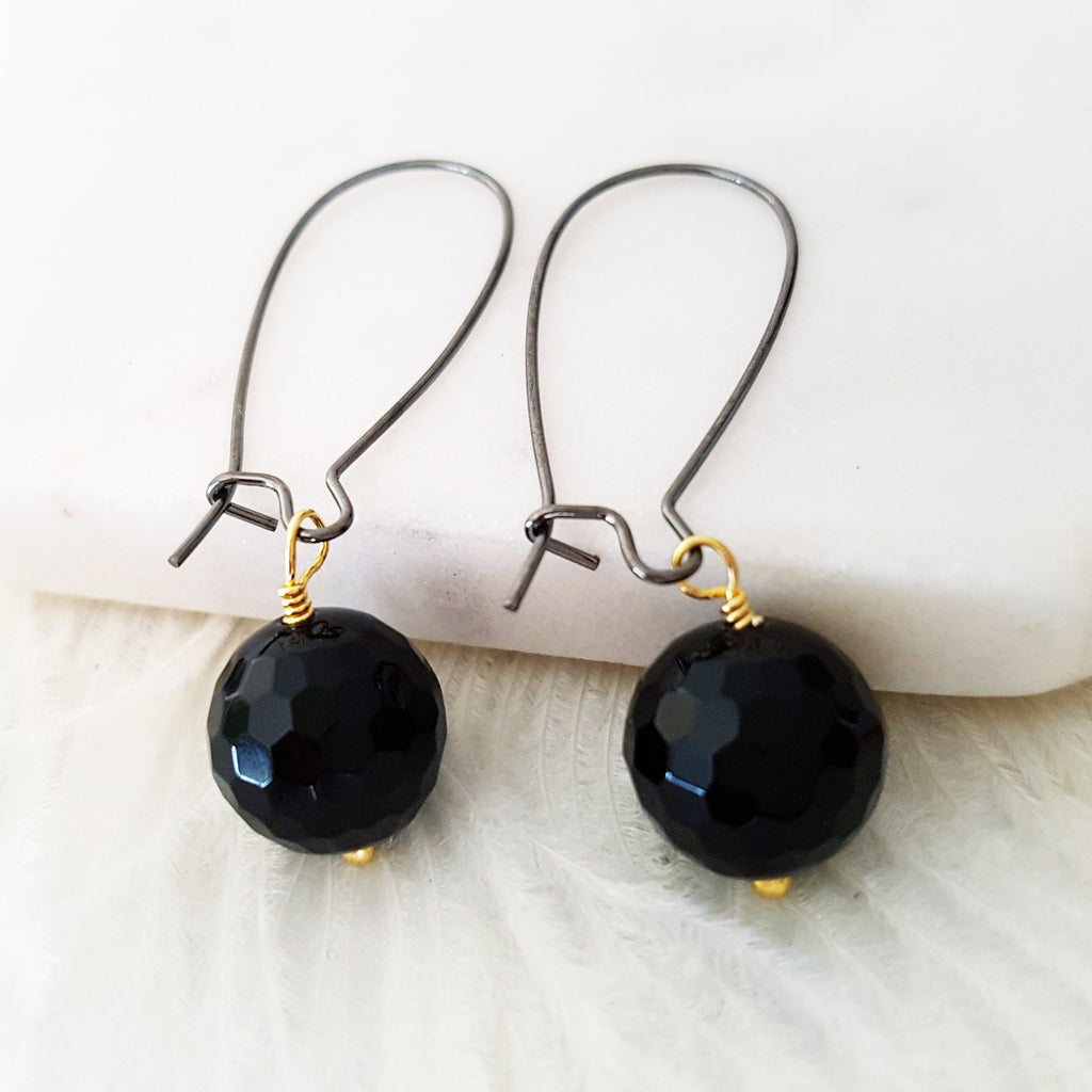 Adore Gemstone Earrings Collection - Faceted Black Agate Earrings