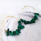 Adore Gemstone Earrings Collection - Dark Green Malachite Earrings