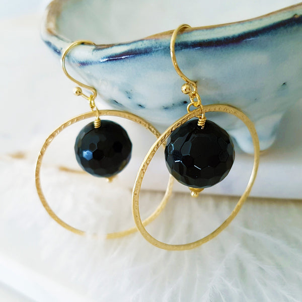 Adore Gemstone Earrings Collection - Faceted Black Agate Gold Ring Earrings