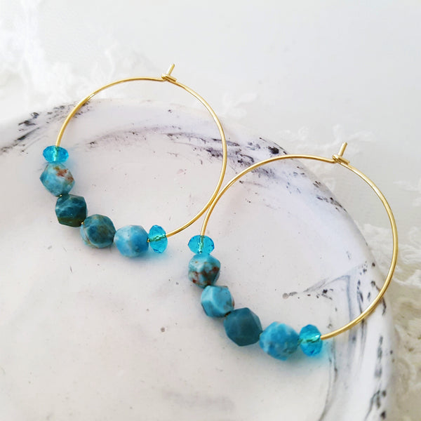 Adore Gemstone Earrings Collection - Faceted Apatite Loop Earrings