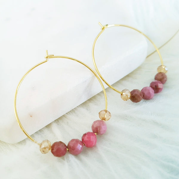 Adore Gemstone Earrings Collection - Faceted Rhodochrosite Loop Earrings