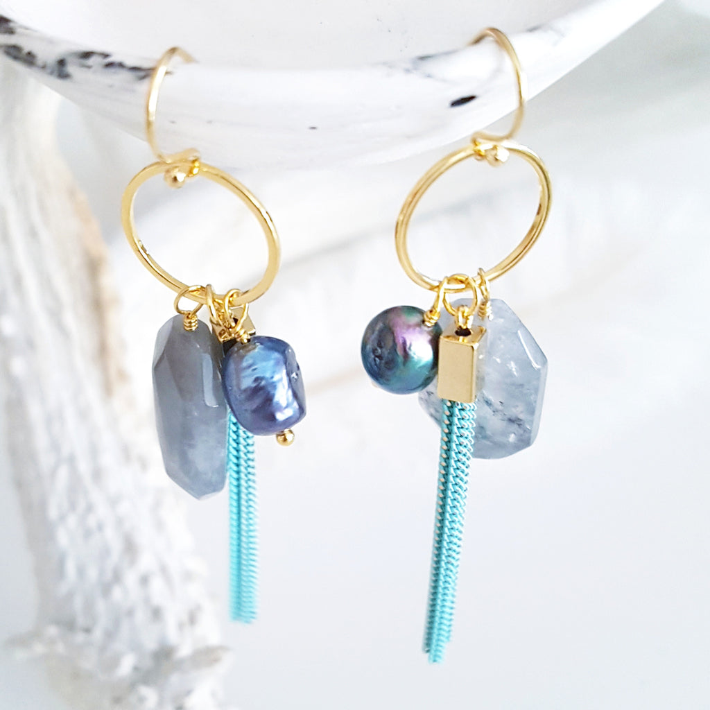 Adore Gemstone Earrings Collection - Rainbow Pearl Black Quartz Tassel Earrings