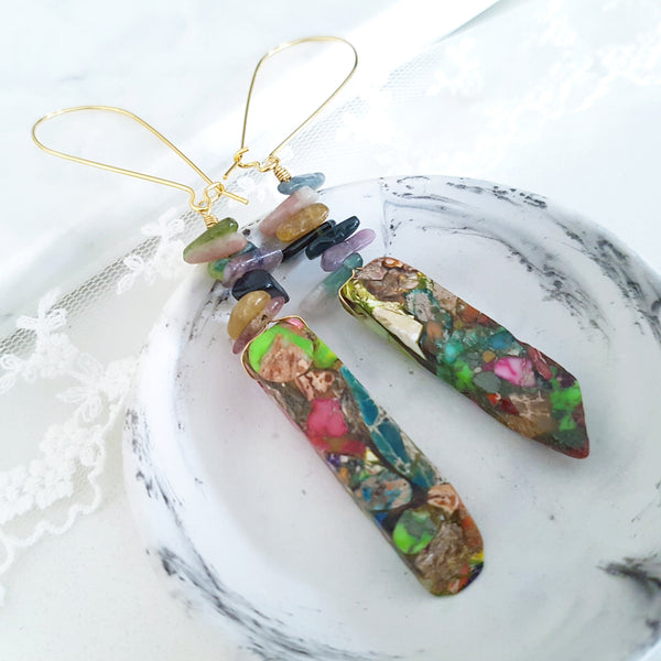 Adore Gemstone Earrings Collection - Rainbow Jasper Multi-Gems Earrings
