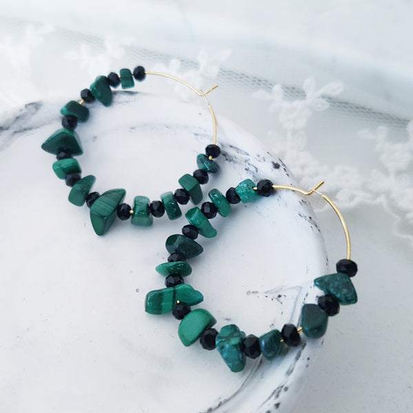 Adore Gemstone Earrings Collection - Green Malachite Loop Earrings