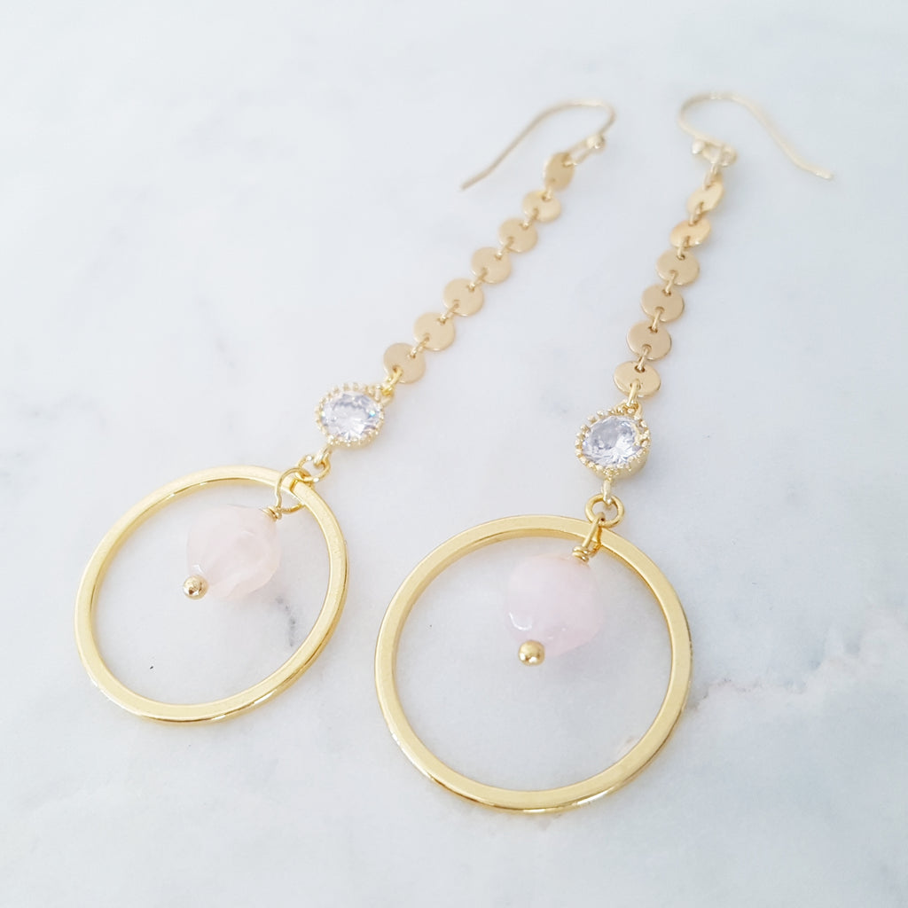 Adore Gemstone Earrings Collection - Rose Quartz Ring Cubic Zircon Hanging Earrings