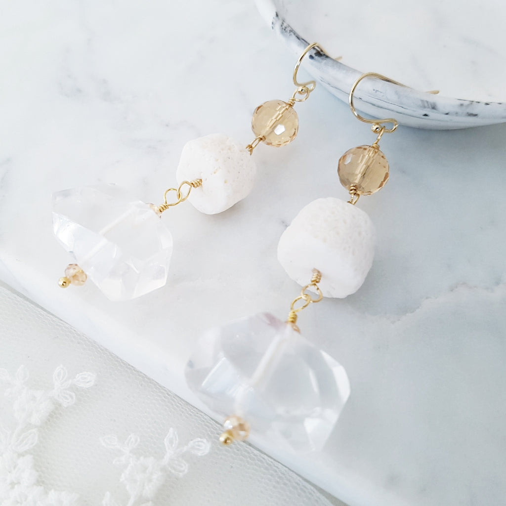 Adore Gemstone Earrings Collection - Clear Quartz Crystals Hanging Earrings