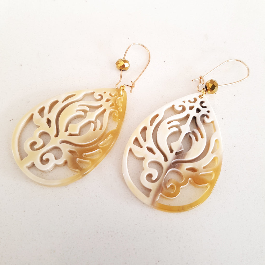 Charismatic Wanderlust Collection - Horn Earrings Lotus Filigree