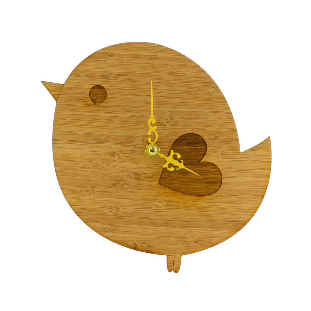 Wooden Clock - Bird
