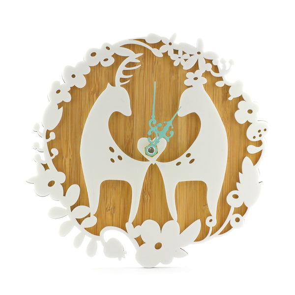 Wooden Clock - Love Deers