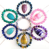 Adore Gemstone Collection - Inverse Teardrop Purple Galaxy Agate Necklace