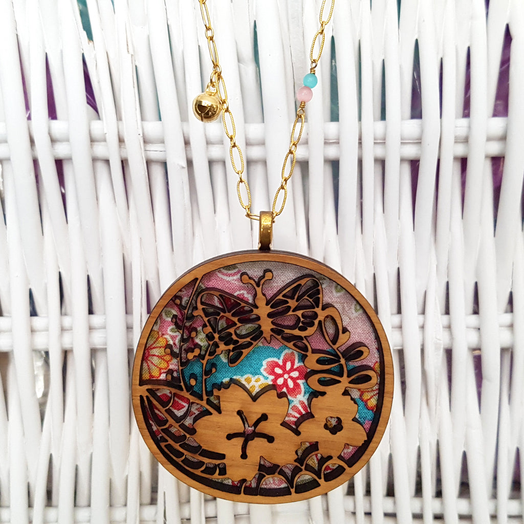 Fabric-Layered Wood Necklace - Secret Garden