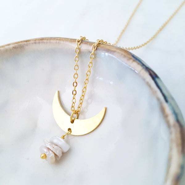Helios Brass Collection - Irregular Pearls Gold Crescent Necklace