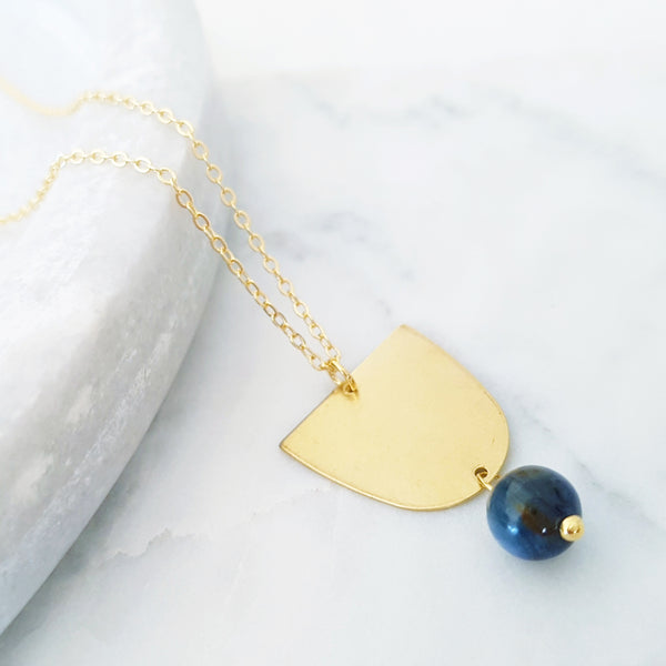 Helios Brass Collection - Blue Dumortierite Inverse Gold Arch Necklace