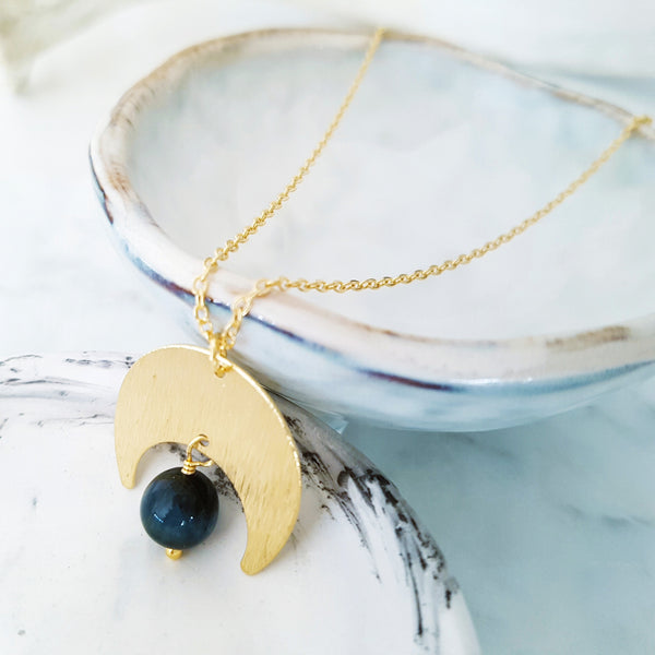 Helios Brass Collection - Blue Tiger Eye Gold Crescent Moon Necklace