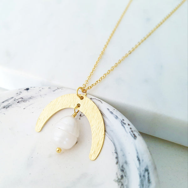 Helios Brass Collection - Freshwater Pearl Gold Crescent Moon Necklace