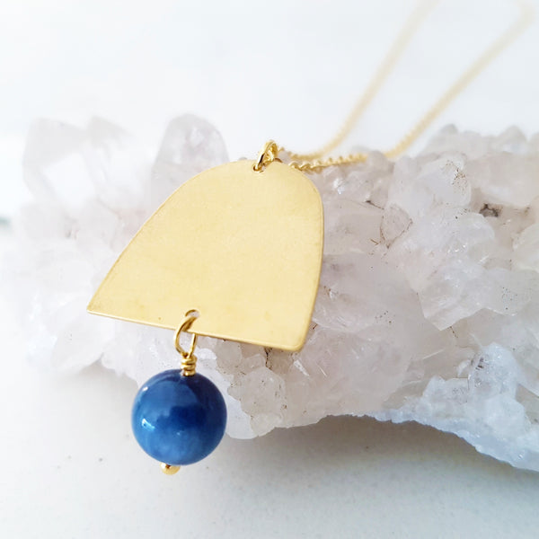 Helios Brass Collection - Blue Dumortierite Closed Gold Arch Necklace