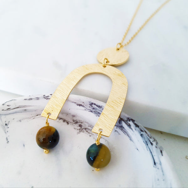 Helios Brass Collection - Black Gold Tiger Eye Gold Open Arch Disc Necklace