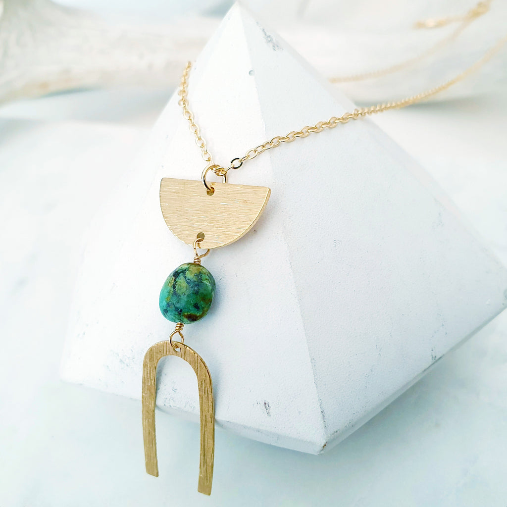 Helios Brass Collection - Turquoise Half Moon Arch Necklace