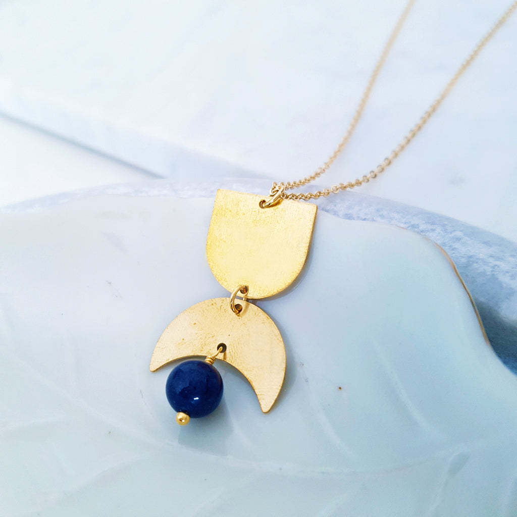 Helios Brass Collection - Blue Dumortierite Gold Arch Crescent Necklace