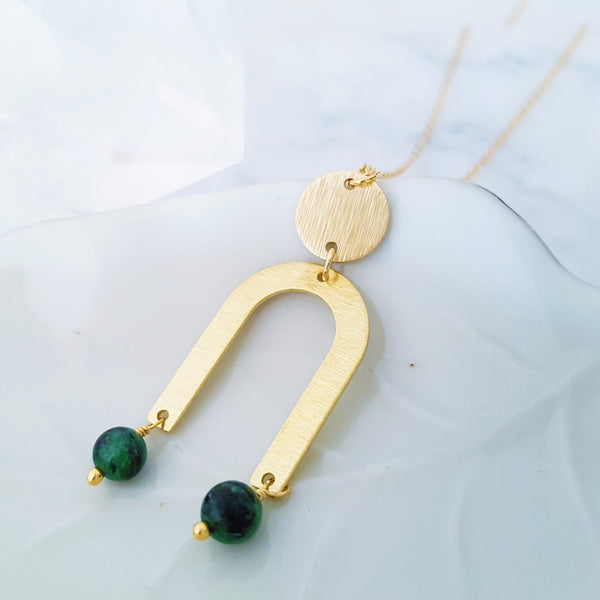 Helios Brass Collection - Ruby Zoisite Gold Arch Disc Necklace