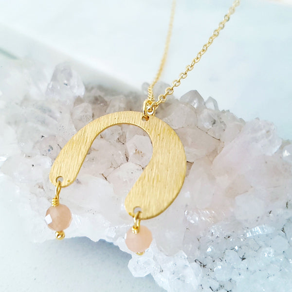 Helios Brass Collection - Sunstone Rounded Gold Arch Necklace