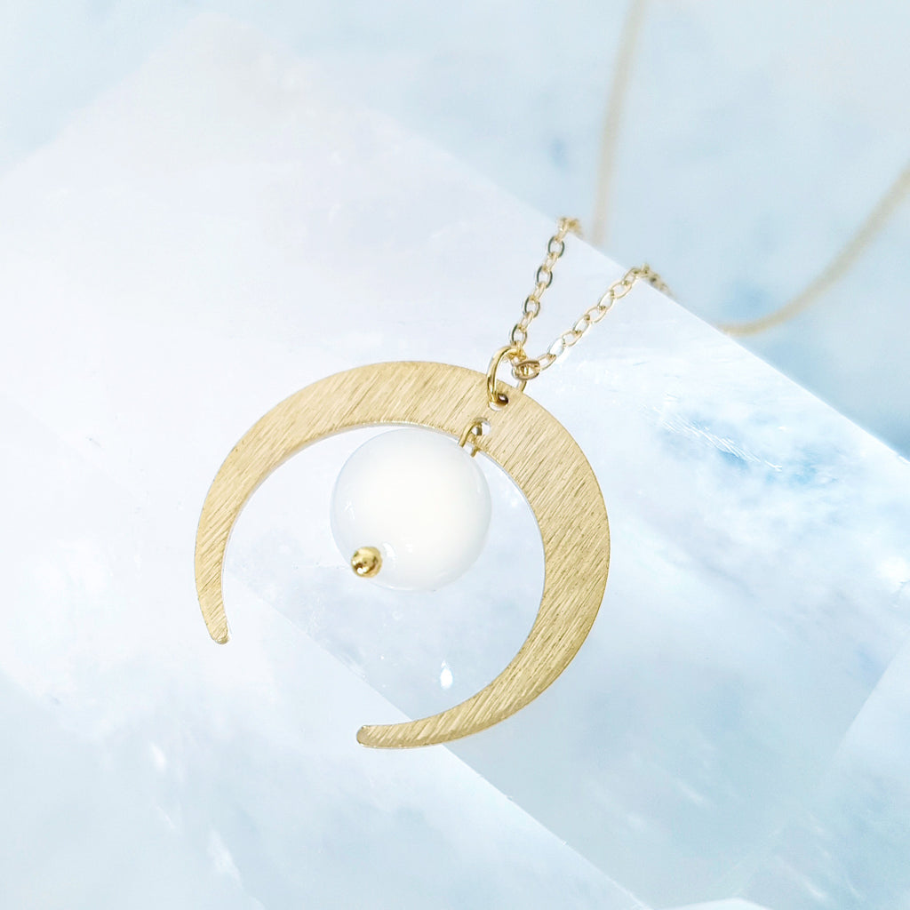 Helios Brass Collection - Moonstone Gold Thin Crescent Necklace
