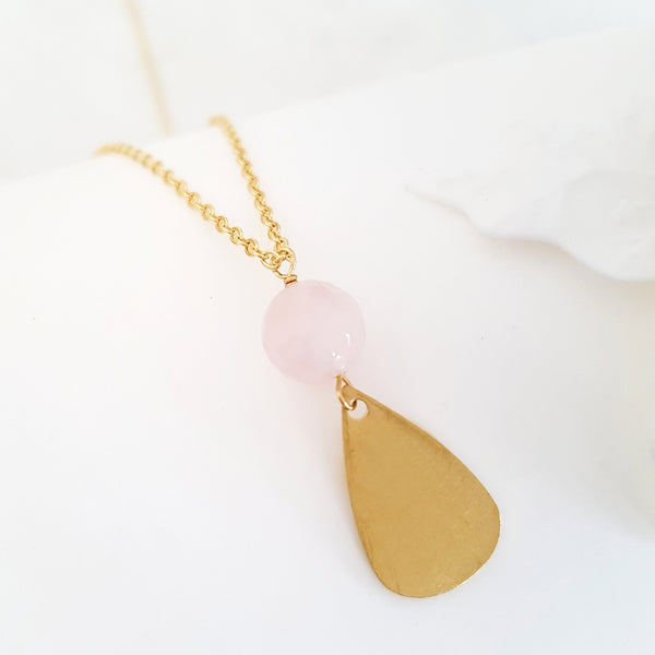 Helios Brass Collection - Faceted Rose Quartz Gold Teardrop Necklace