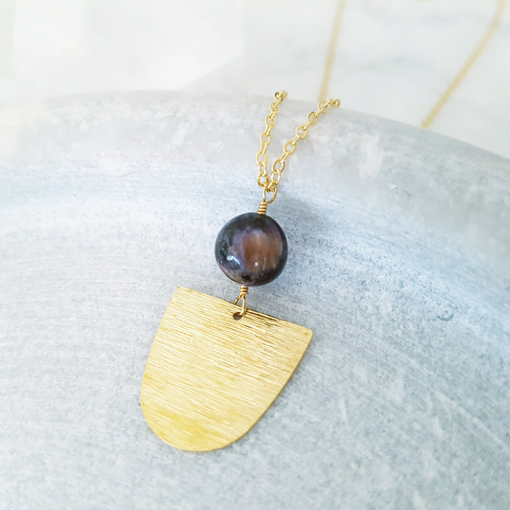 Helios Brass Collection - Charoite Inverse Closed Arch Necklace