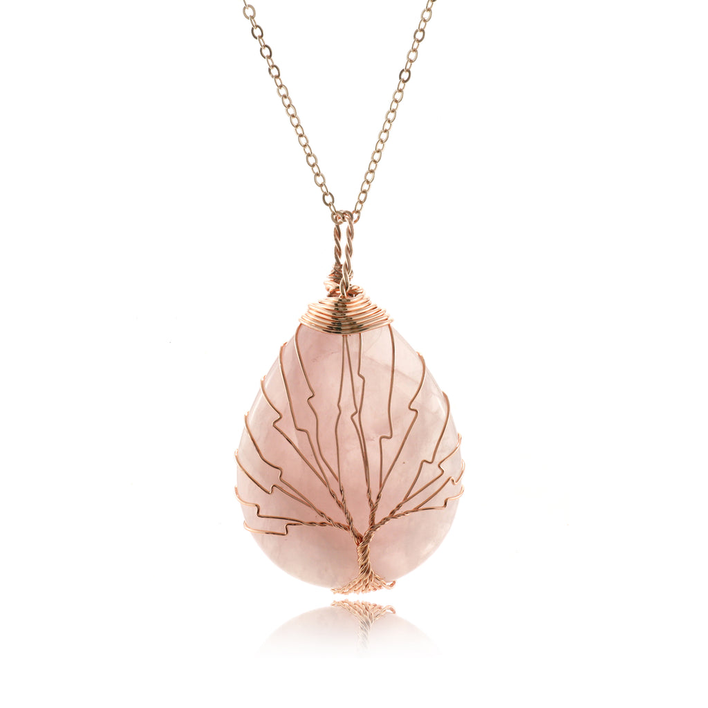 Adore Gems Collection - Rose Quartz Tree of Life Necklace