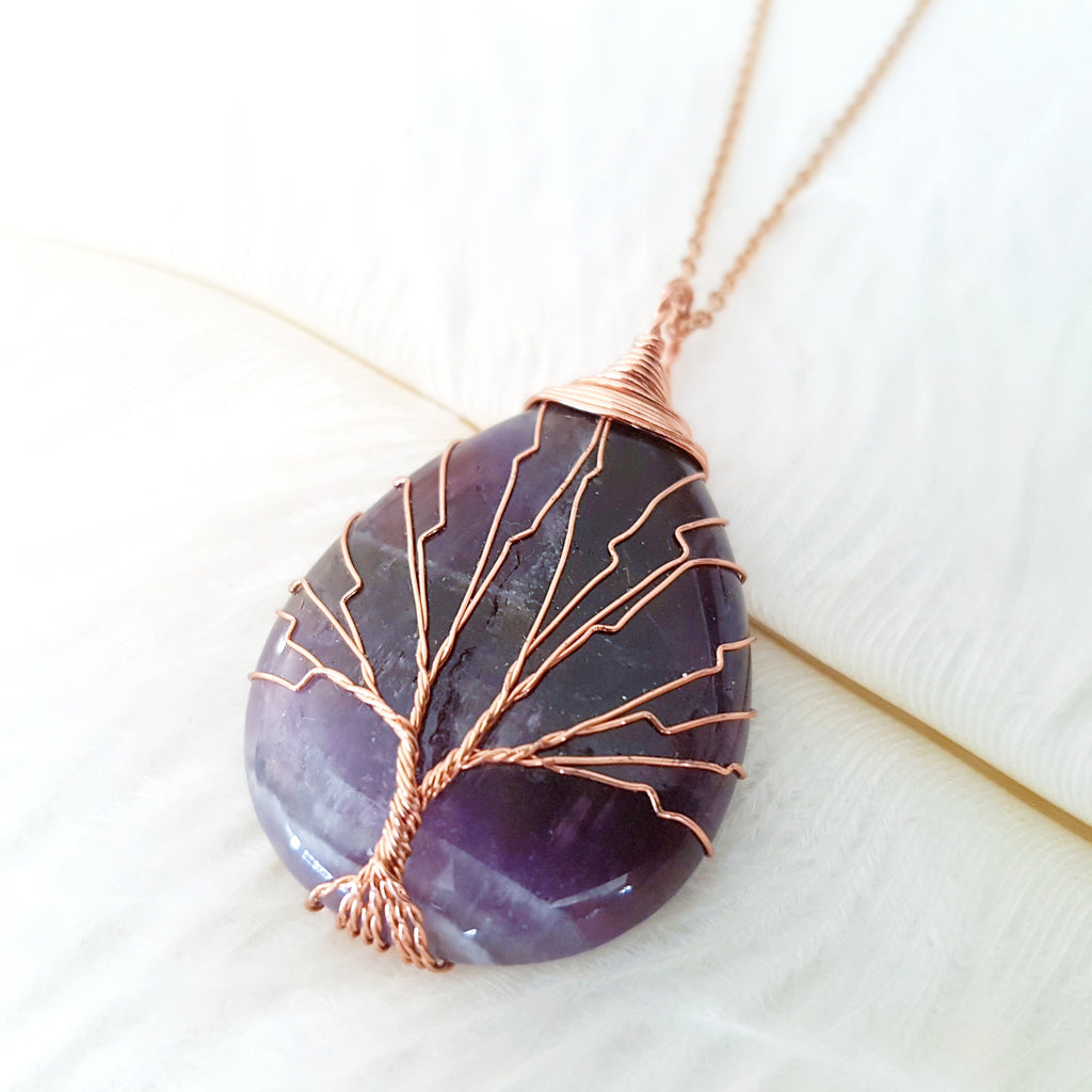 Adore Gems Collection - Amethyst Tree of Life Necklace