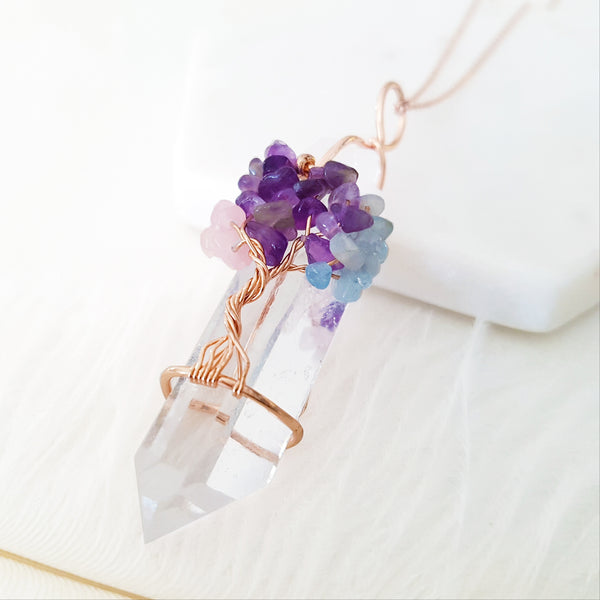 Adore Gems Collection - Multi-Gems Quartz Tree of Life Necklace