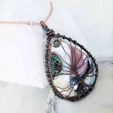 Adore Gems Collection - Abalone Mixed Shell Tree of Life Necklace