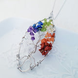 Adore Gems Collection - Seven Chakras Tree of Life Oval Necklace