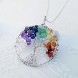 Adore Gems Collection - Seven Chakras Tree of Life Round Necklace
