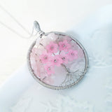 Adore Gems Collection - Rose Quartz Floral Tree of Life Round Necklace