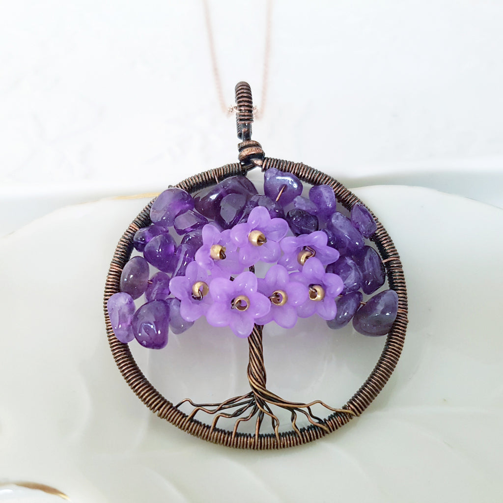 Adore Gems Collection - Amethyst Floral Tree of Life Round Necklace