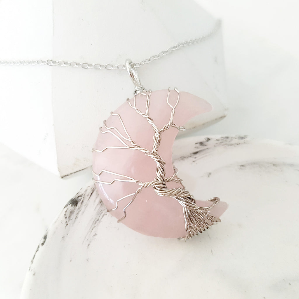 Adore Gems Collection - Rose Quartz Crescent Moon Tree of Life Necklace