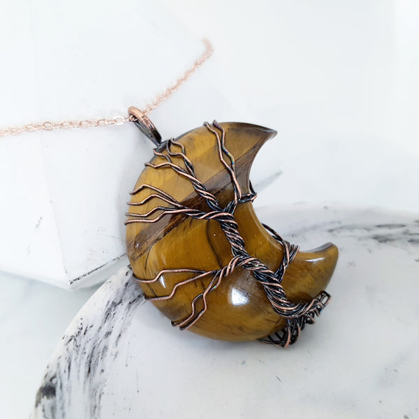 Adore Gems Collection - Tiger Eye Crescent Moon Tree of Life Necklace