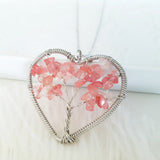 Adore Gems Collection - Heart-Shaped Strawberry Quartz Tree of Life Necklace