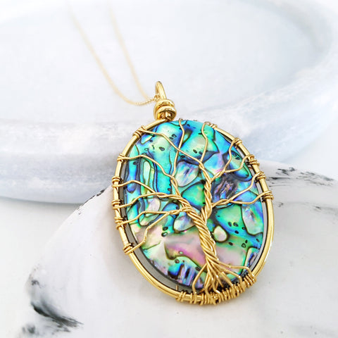 Adore Gems Collection - Abalone Shell Tree of Life (Gold) Necklace